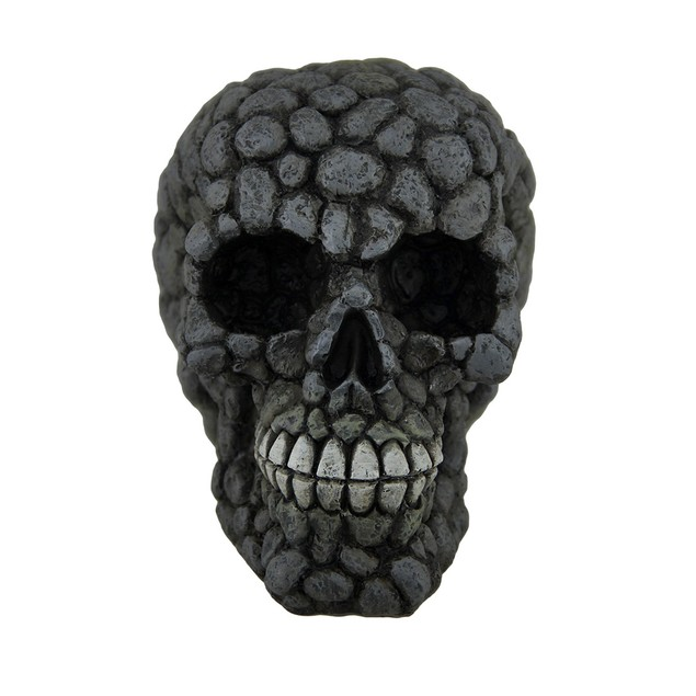 Gray Skull Statue With Rock/Stone Finish Statues