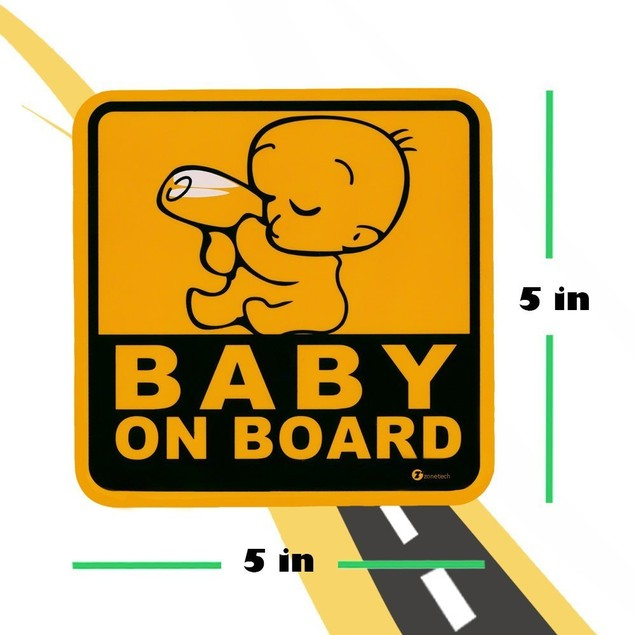 Zone Tech Highly Reflective Yellow and Black Baby on Board Car Magnet