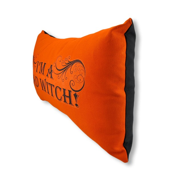 Orange And Black `I`M A Bad Witch` Accent Pillow Throw Pillows