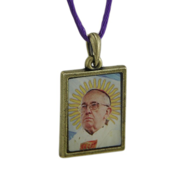 Pope Francis Pewter Photo Pendant W/ Cord Necklace Womens Pendant Necklaces