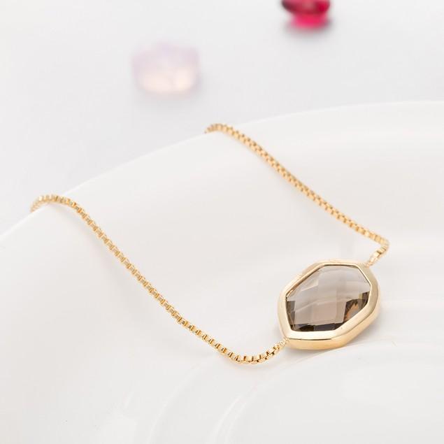 Gold Plated Hectagon Shaped Onyx Gem Bracelet