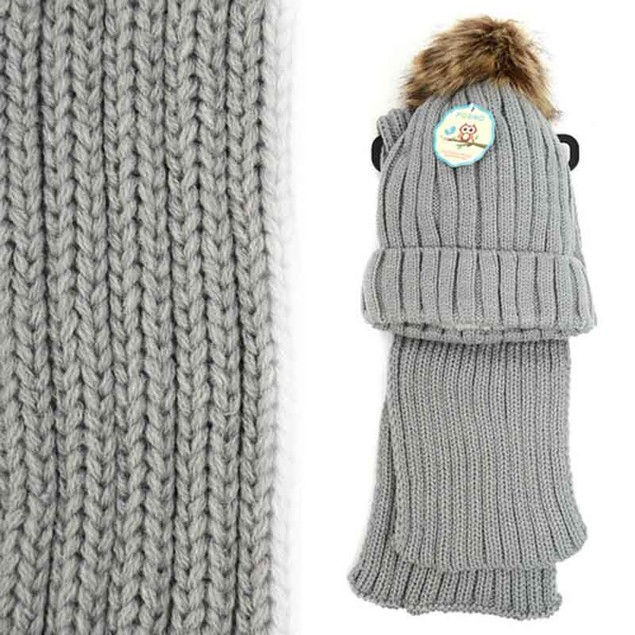 Kid's Winter Knitted Pom Beanie Scarf and Hat Set