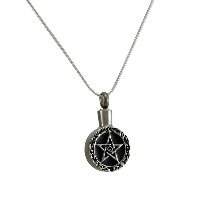 Stainless Steel Pagan Pentacle Keepsake Vial Womens Pendant Necklaces