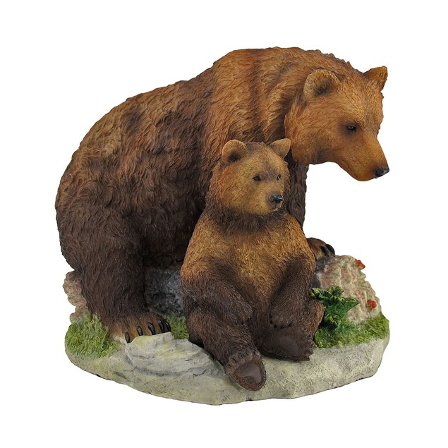 Mother And Child Grizzly Bear Statue Baby Animal Statues