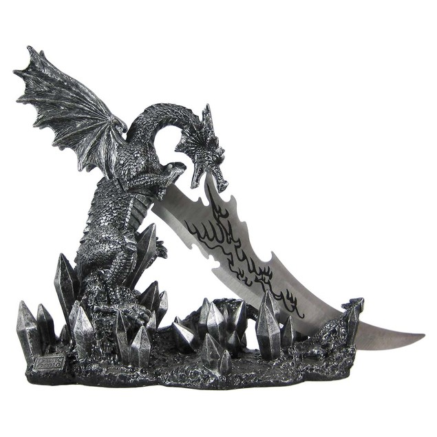 Wicked Fire Dragon Fantasy Knife And Holder Dagger Statues