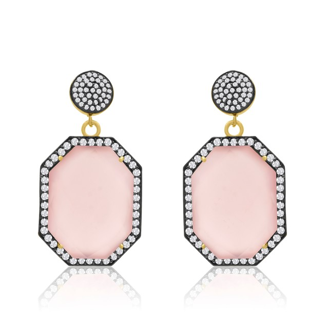 14k Yellow Gold 79ct Octagon Shape Rose Quartz and CZ Dangle Earrings