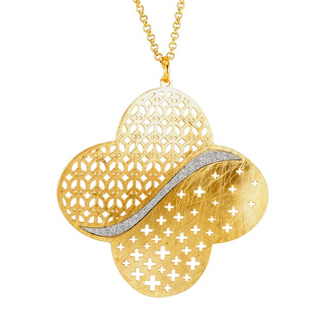 18kt Gold Plated Sterling Silver Glitter Necklace - Clover