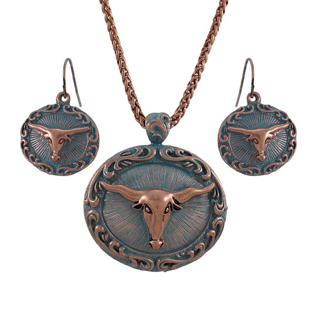 Copper And Turquoise Blue Western Longhorn Womens Earring And Necklace Sets