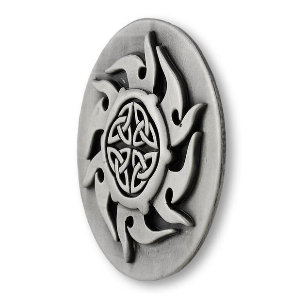 Pewter Finish Celtic Knotwork Sunburst Belt Buckle Mens Belt Buckles