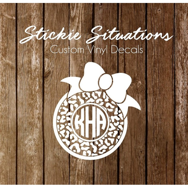 Animal Print Frame Monogram Decal
