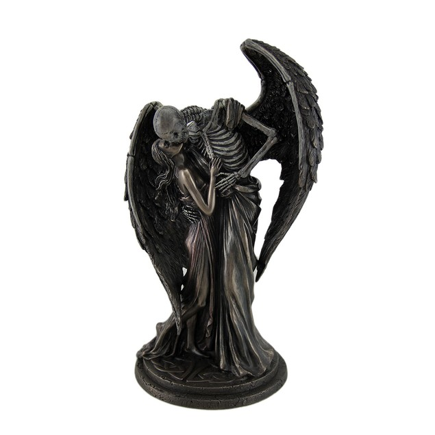 The Kiss Of Death Antique Bronze Finish Winged Statues