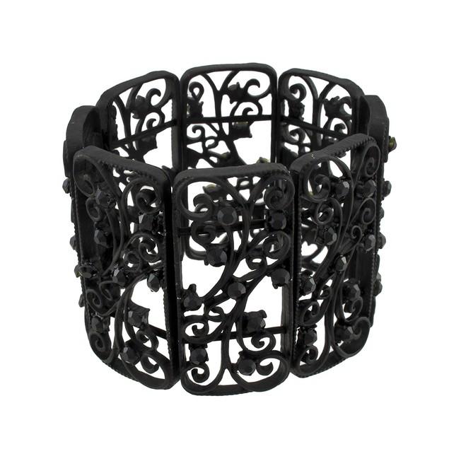 Black Gothic Metal Scrollwork Stretch Bracelet Womens Stretch Bracelets
