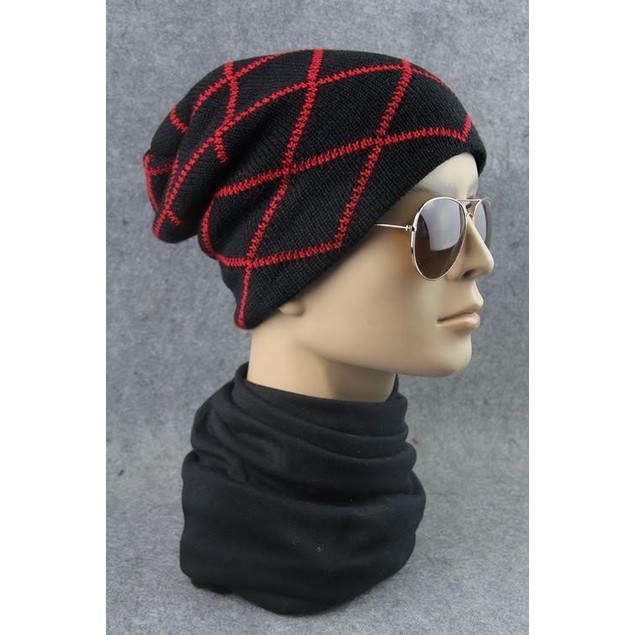 Men's Criss-Cross Beanie Hat - Assorted Colors