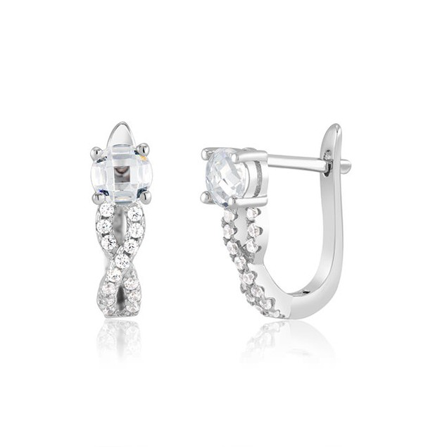 Infinity Sterling Silver Cubic Zirconia Huggie Earrings