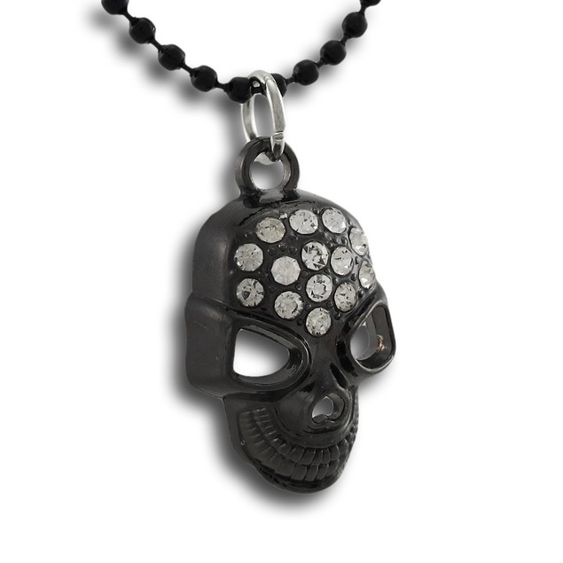 Gunmetal Rhinestone Encrusted Skull Pendant 18 Chain Necklaces