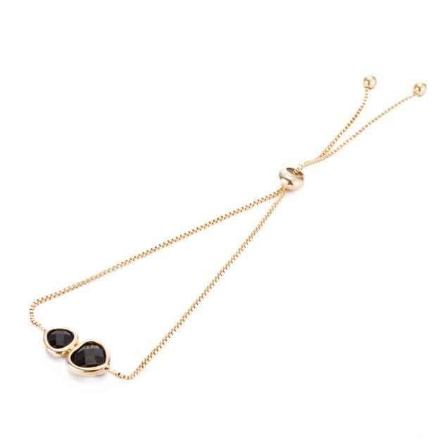 Gold Plated Duo Onyx Gem Bracelet