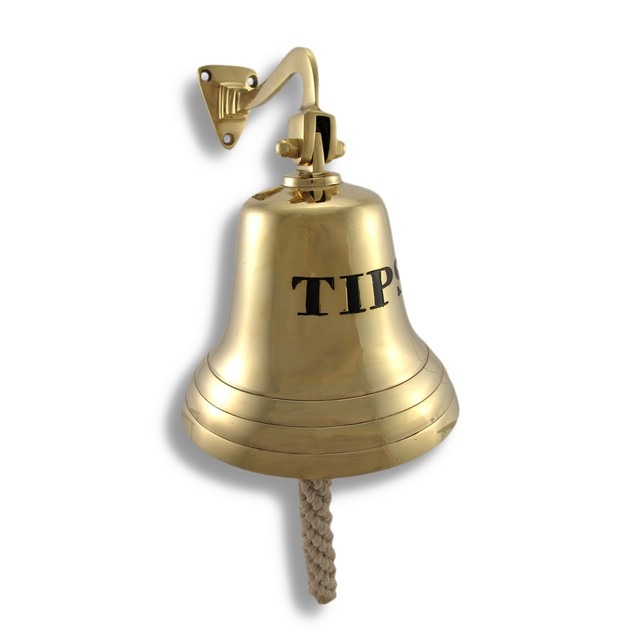Solid Brass `Tips` Bell Wall Mounted Bartender`S Office Desk Call Bells