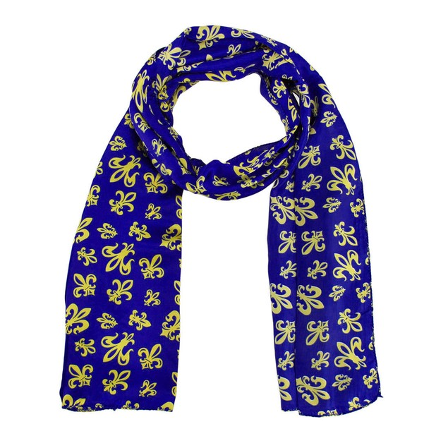 Purple Satin Scarf With Gold Fleur De Lis Designs Womens Fashion Scarves