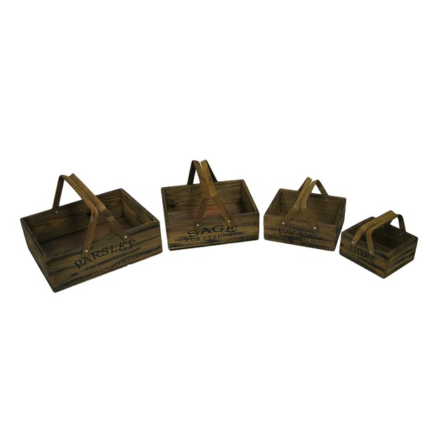 Set Of 4 Vintage Look Nesting Herb Growing Basket Planter Boxes