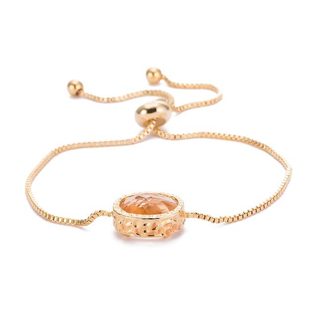Gold Plated Circular Classic Orange Citrine Gem Bracelet