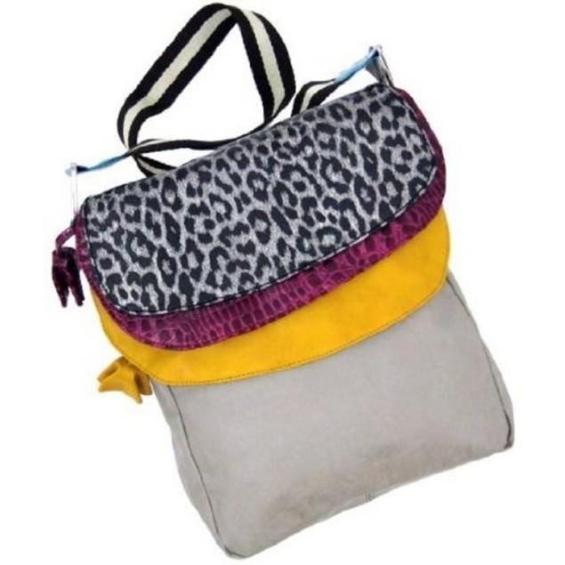 Tan Messenger Style Handbag Silver Leopard Trim Womens Cross Body Bags