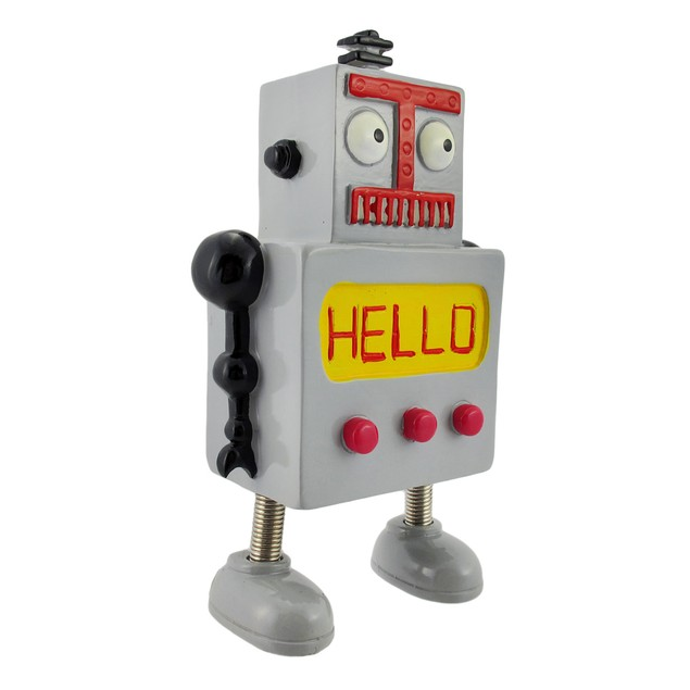 Whimsical Gray Robot Coin Bank With Springy Legs Toy Banks