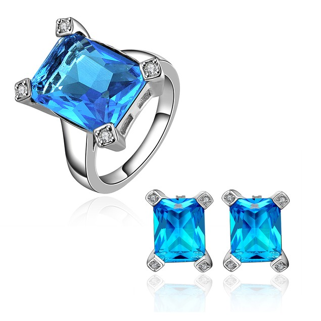 Geometric Cube Earring and Ring Imitation Sapphire Austrian Crystal Set