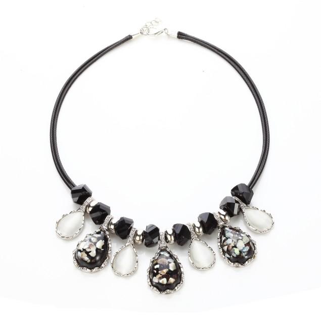 Opal Violet Crystal Specks Statement Necklace