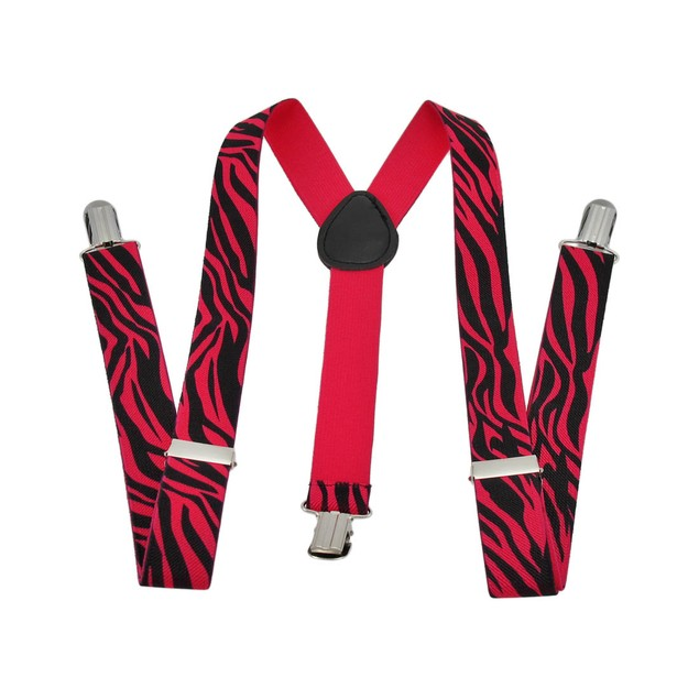 Fluorescent Neon Hot Pink And Black Zebra Print Womens Suspenders