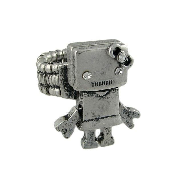 Pewter Colored Girl Robot Stretch Ring Rings