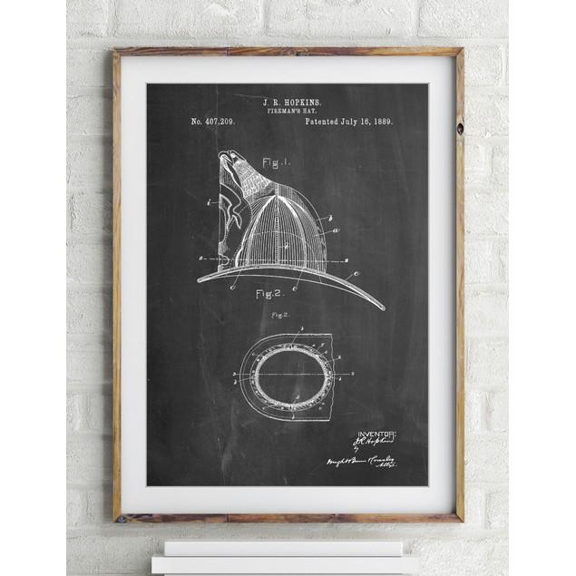 Vintage Fireman's Helmet 1889 Poster