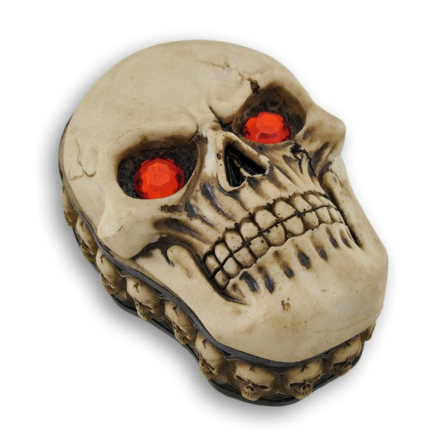 Blazing Red Eyed Sinister Skull Trinket Stash Box Decorative Boxes