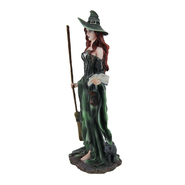 Green Witch And Black Cat Walking W/Broom And Statues