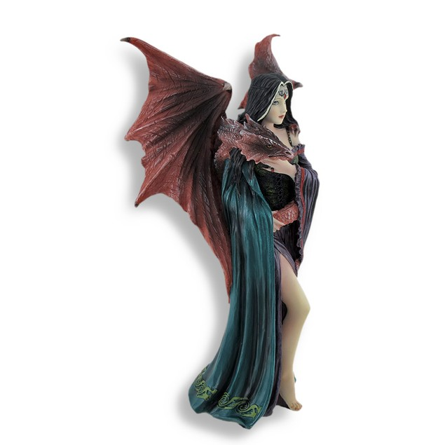 Anne Stokes `Soul Mates` Gothic Female And Dragon Statues