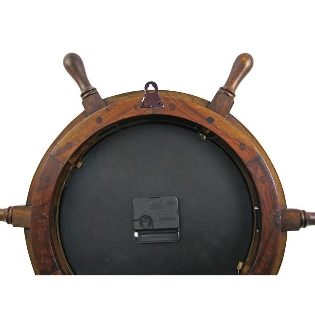 19 Inch Diameter Nautical Wooden Ships Wheel Clock Wall Clocks