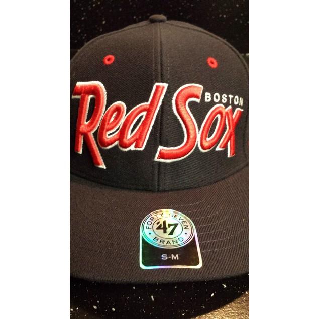 "Boston Red Sox MLB 47' Brand ""Retro Script"" Stretch Fitted Hat"