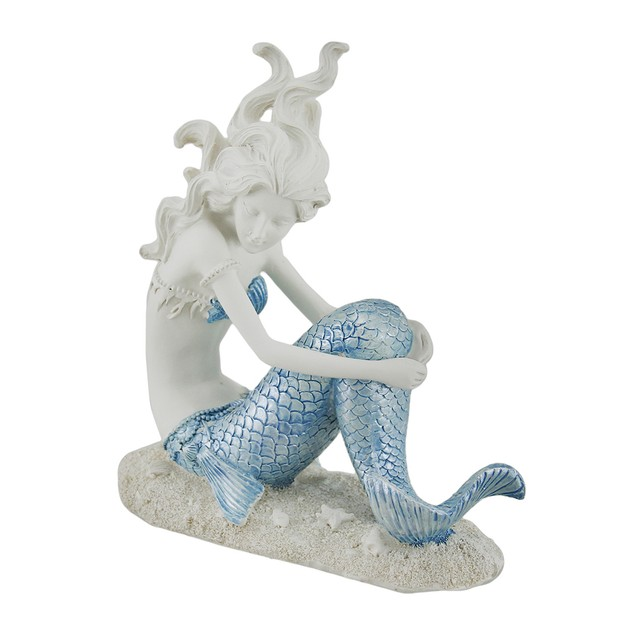 Blue And White Mermaid Relaxing On The Sand Statue Statues