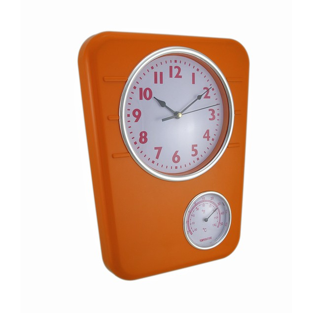 Bright Orange Wall Clock With Temperature Display Outdoor Clocks