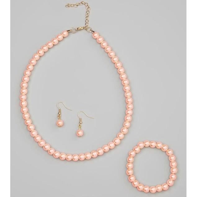 Glass Pearl Necklace, Bracelet & Earring Sets