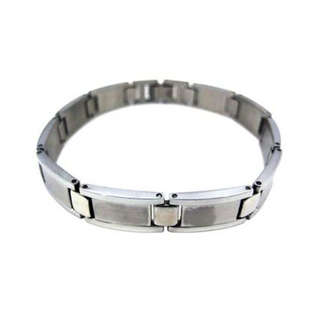 Matte & Polished Stainless Steel Link Bracelet 8 Mens Chain Bracelets