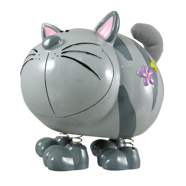 Gray Striped Fuzzy Tail Tabby Cat Money Bank Toy Banks