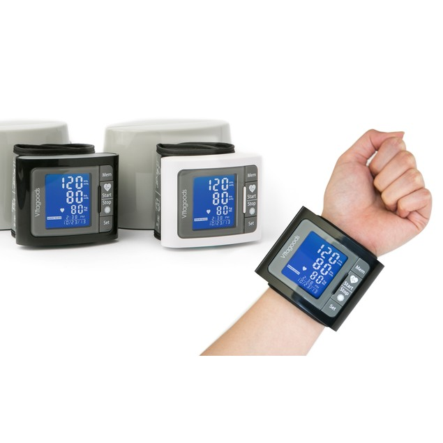 Vitagoods Wrist Blood Pressure Monitor with Case - Black and Grey