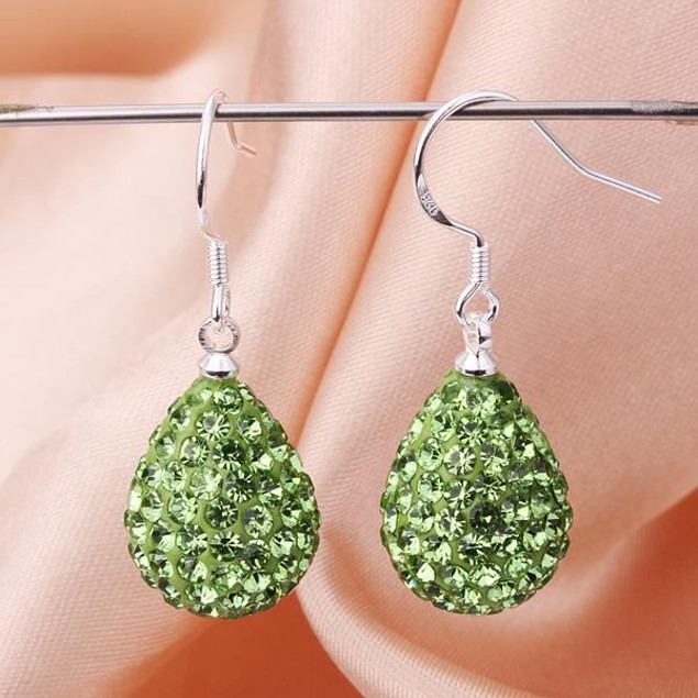 Pear Shaped Solid Austrian Stone Drop Earrings - Bright Green