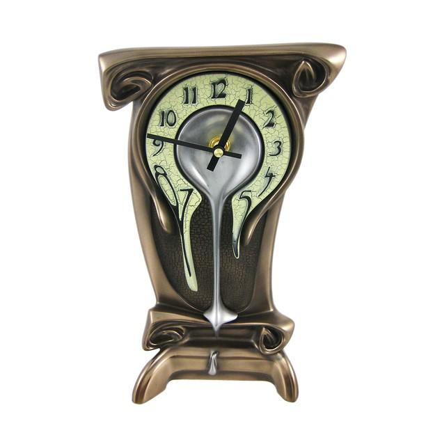 Bronze Finish Melting Mantel Clock Desk Table Dali Desk Clocks