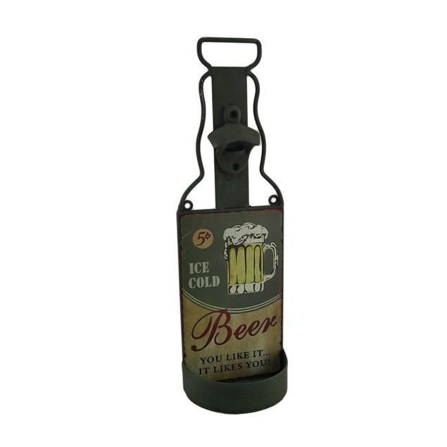 Metal Beer Shaped Cap Catcher Bottle Opener Wall Bottle Openers