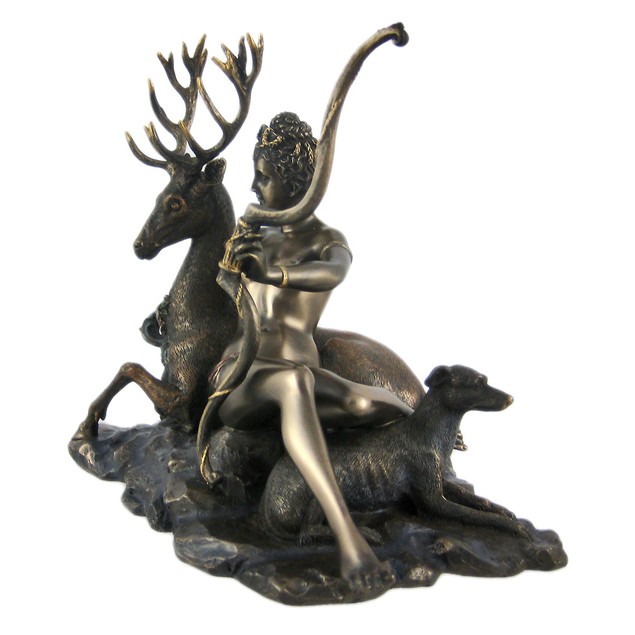 Bronze Finish Artemis Moon Goddess Greek Statue Statues