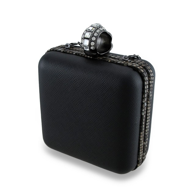 Black Square Clutch Purse W/Rhinestone Skull Ring Womens Evening Handbags