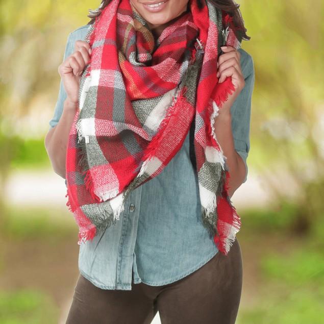 Women's Oversized Plaid Blanket Scarf