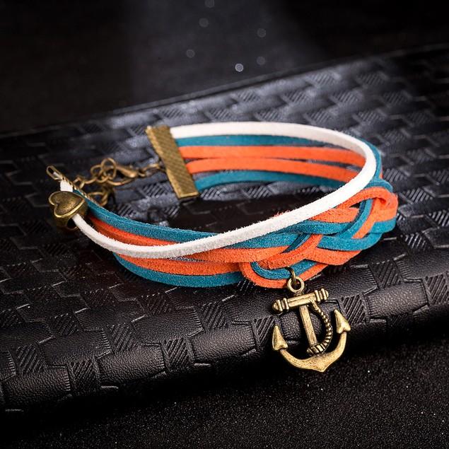 Orange & Blue Anchor Bracelet