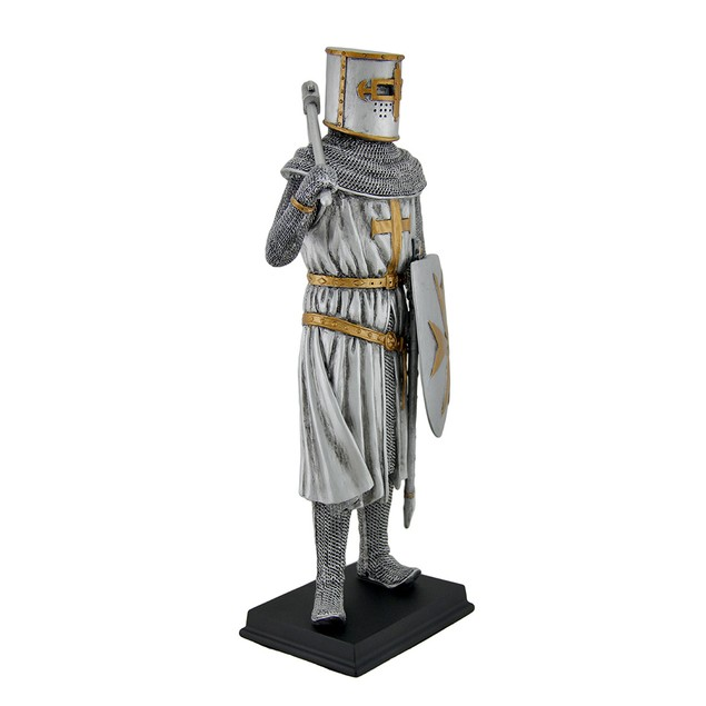 Medieval Crusader Knight In Armor Statue W/ Sword Statues